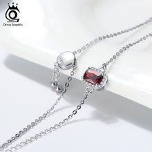 Load image into Gallery viewer, Sterling 925 Silver Necklace Crimson AAAA Zircon Emerald Cutting Pendant Clavicle Chain