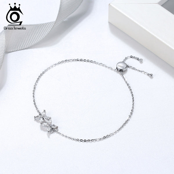 925 Sterling Silver Sweet Bow Shape Bracelet