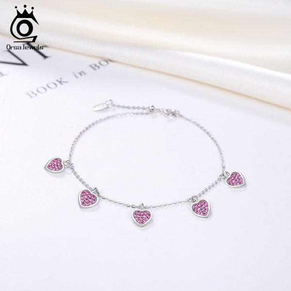 925 Sterling Silver Heart Shape Gemstone Charm Bracelet