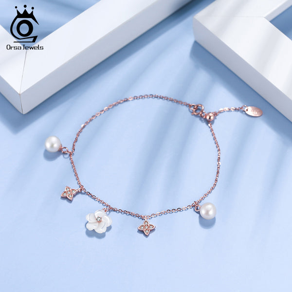 Sterling Silver Flower Nature Fresh Water Pearl Bracelet