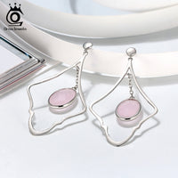 Big Size Pink Stone Drop Earrings