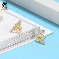 925 Sterling Silver Lovely Bees Stud Earrings