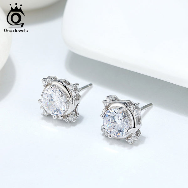 925 Sterling Silver Round All-match Stud Earring