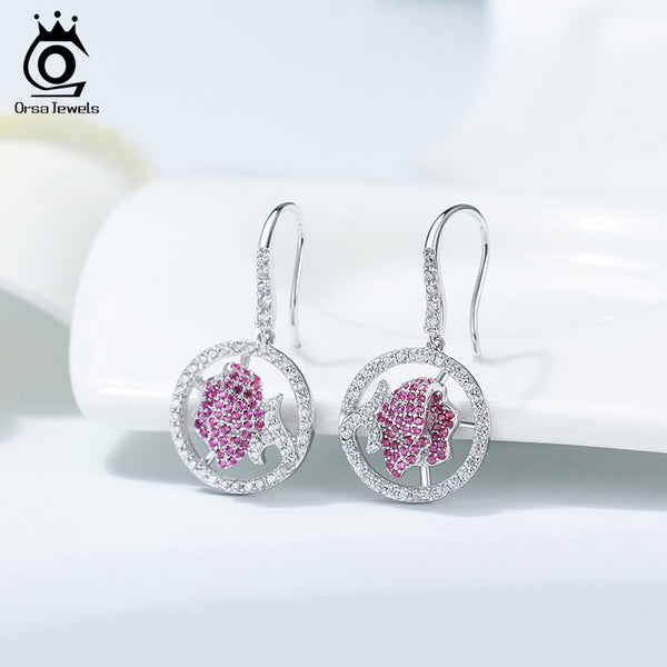 925 Sterling Silver 3D Rose Shape Dangle Earring
