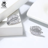 Sterling Silver Lucky Tree Leaf Charm Earrings