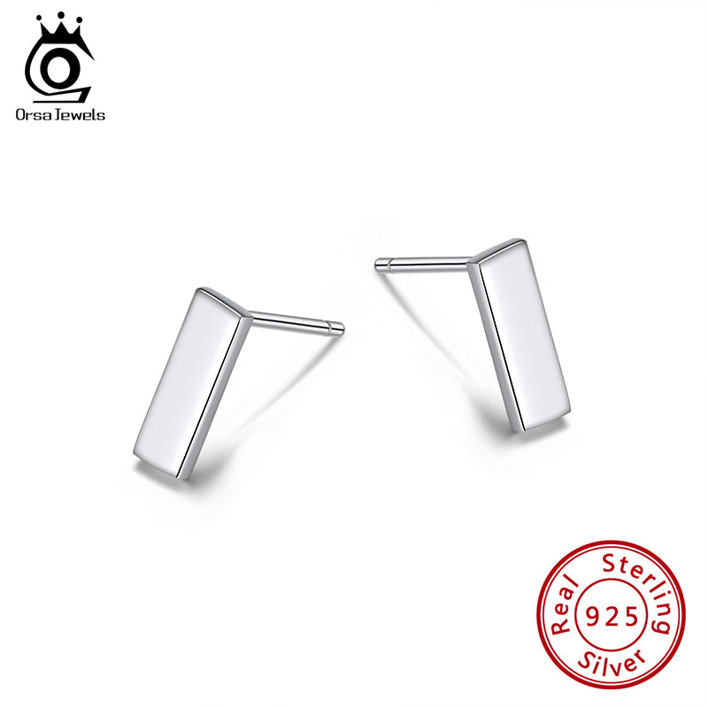 S925 Sterling Silver Stud Earrings Square  Earring