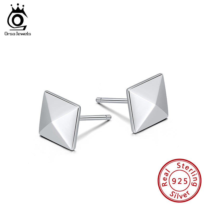 925 Sterling Silver Earring Perfect Polished Creative Small Square Shape Earring