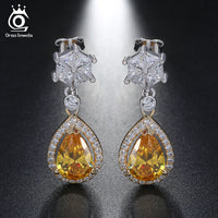 925 Sterling Silver Water Drop Cuting Yellow Zirconia Dangle Earring