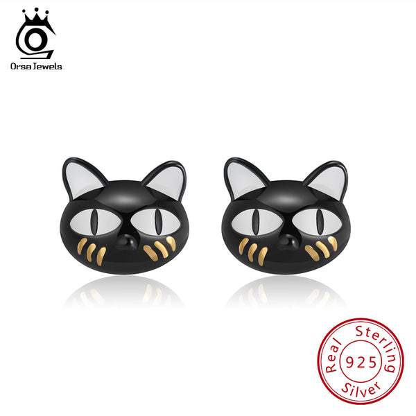 Sterling Silver Cute Black Cat Stud Earrings