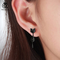 Sterling Silver Hanging Lovely Black Cat's Tail Can Move Dangle Earring
