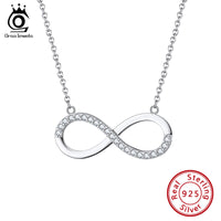 925 Infinity Pendant Necklace Pave Setting Pendant Necklace