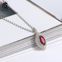 Red Marquise Cut Pendant Necklace