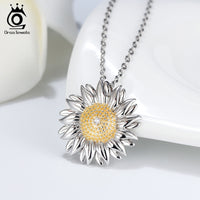 925 Sterling Silver Sunflower Pendant Necklace