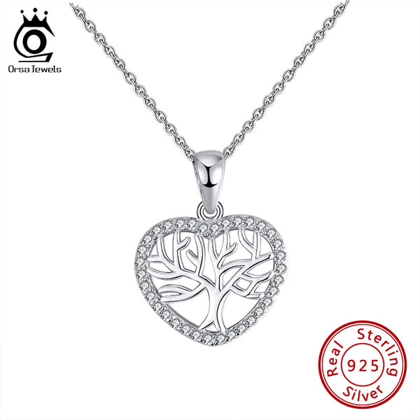Sterling Silver Love Tree Pendant Necklace
