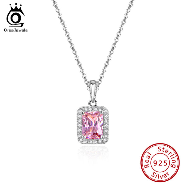 Luxury Emerald Cut AAAA Cubic Zirconia Pendant Necklace