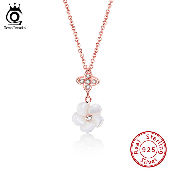 Sterling Silver Flower Nature Fresh Water Pearl Necklace