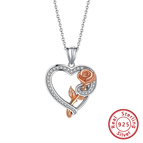 Rose Love Heart Necklace-925 Sterling