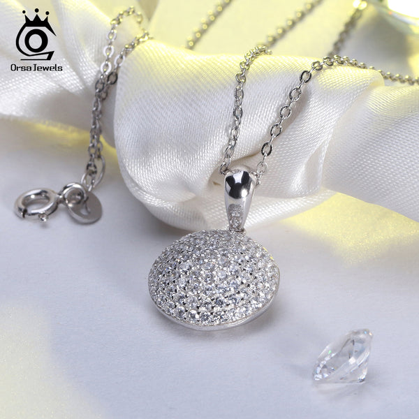 925 Sterling Silver Round Pendant Necklace