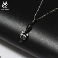 925 Sterling Silver Hanging Hollowed Walking Cat Necklace