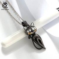 925 Sterling Silver Cute Black Cat Pendant Necklace