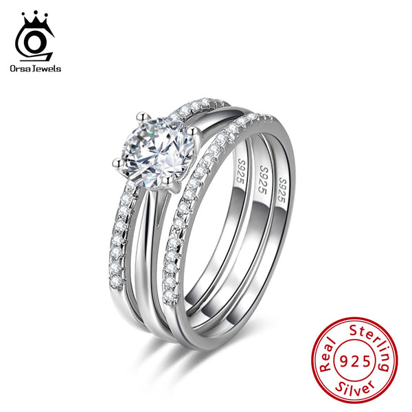 Sterling Silver 3-Ring Wedding Set W/Clear CZ