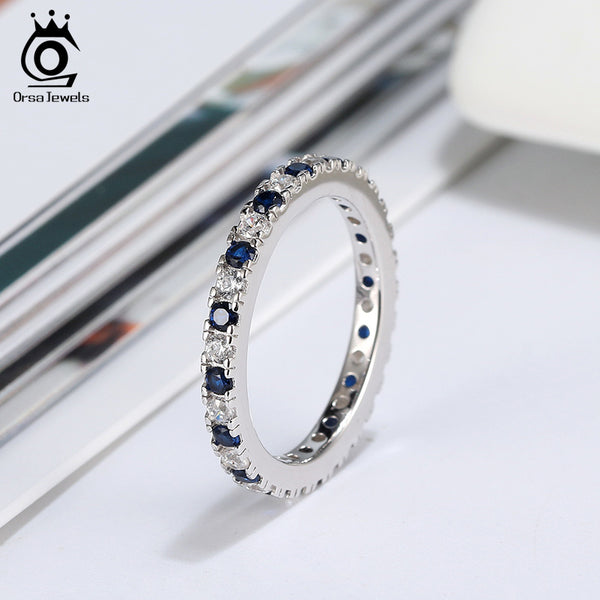 925 Sterling Silver Blue AAAA Zircon Shining Eternity Ring