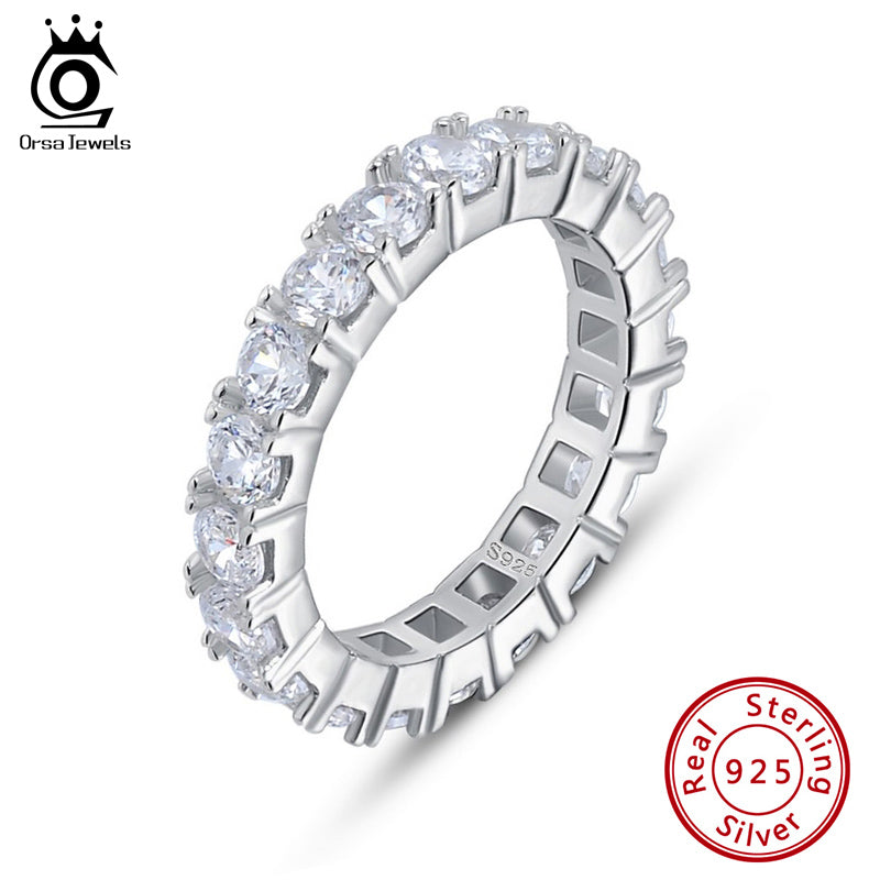 925 Sterling Silver Rings for Women Wedding With Shiny AAA Cubic Zircon Small Korean Ring