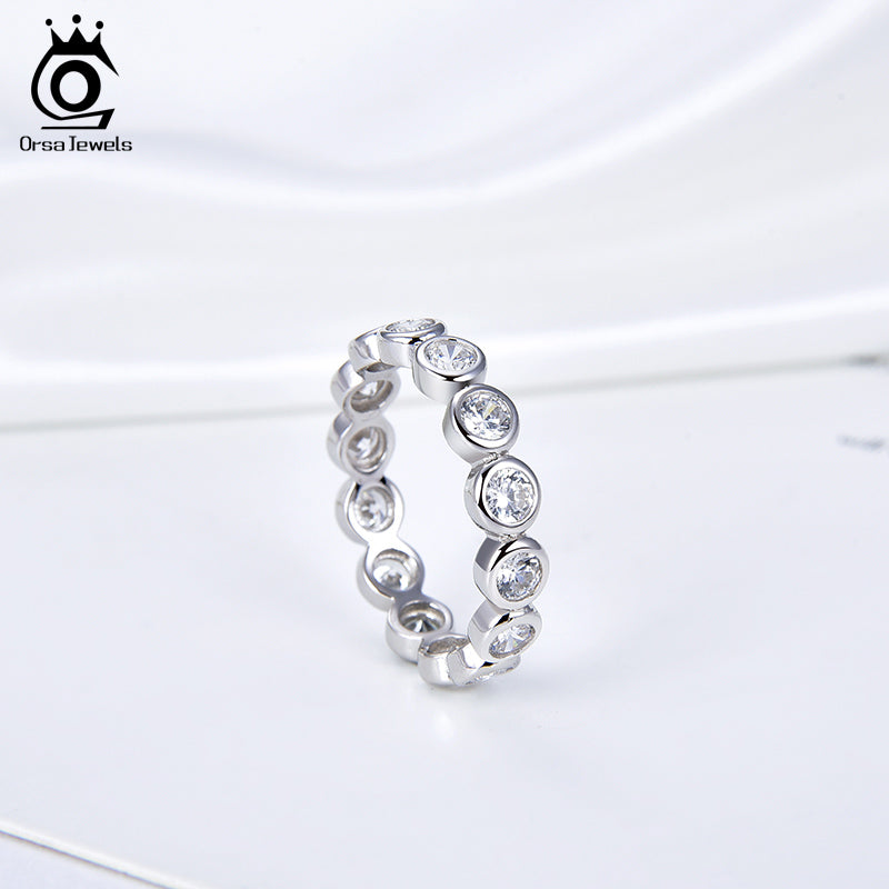 925 Sterling Silver Women Rings AAA CZ Marquise Cut Eternity Wedding Ring