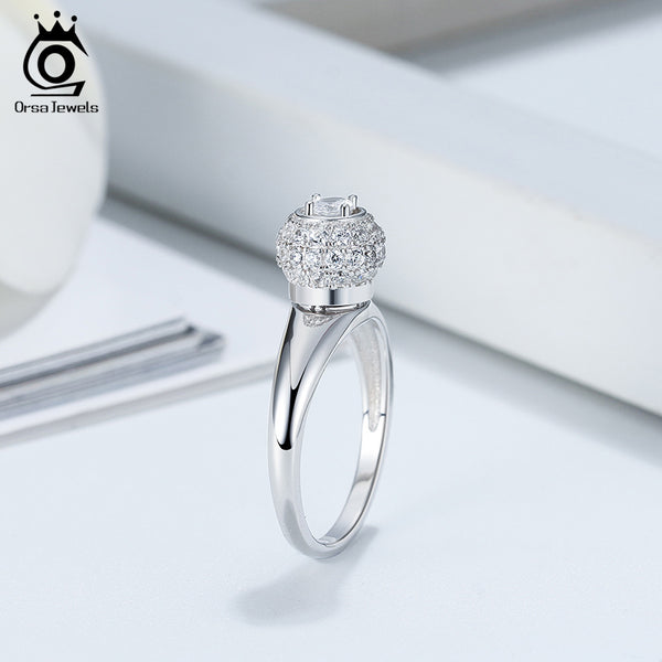 925 Sterling Silver Pave Setting Zirconia Ring