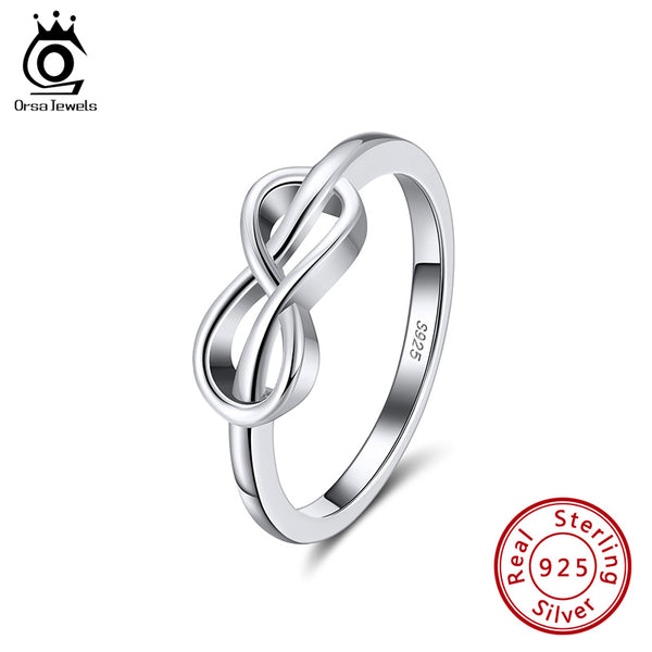 Sterling Silver Infinity Ring Eternity Love Symbol