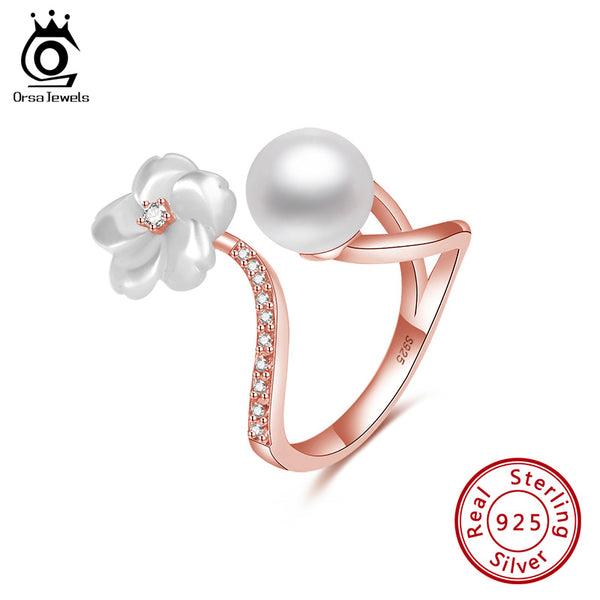 Sterling Silver Flower Shape Nature Fresh Water Pearl Ring Style 2