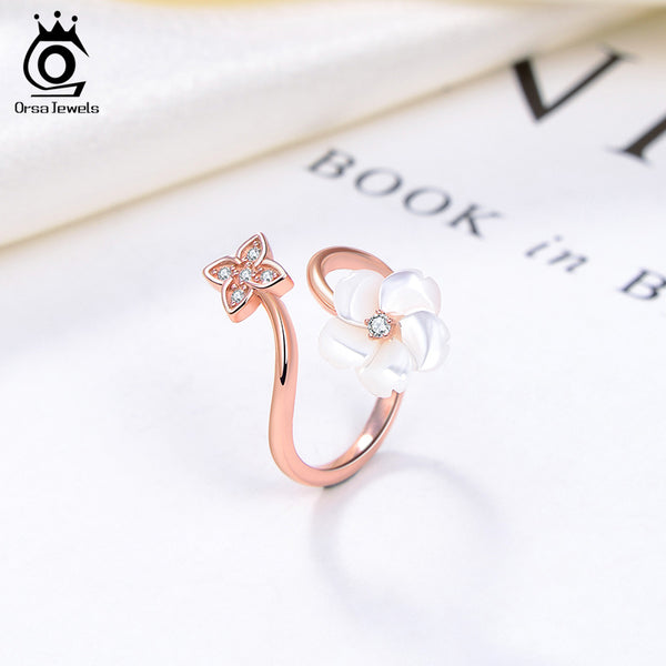 Sterling Silver Flower Shape Nature Fresh Water Pearl Ring