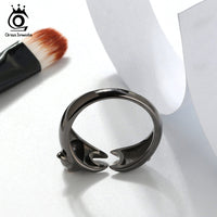 925 Sterling Silver Vivid Black Stretching Cat Adjustable Ring