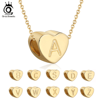 18K Gold-Plated Letters A-Z 26 Alphabet Initial Heart Necklace