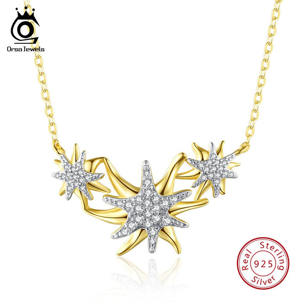 Gold-color Starfish Pendant Necklace Christmas Gift