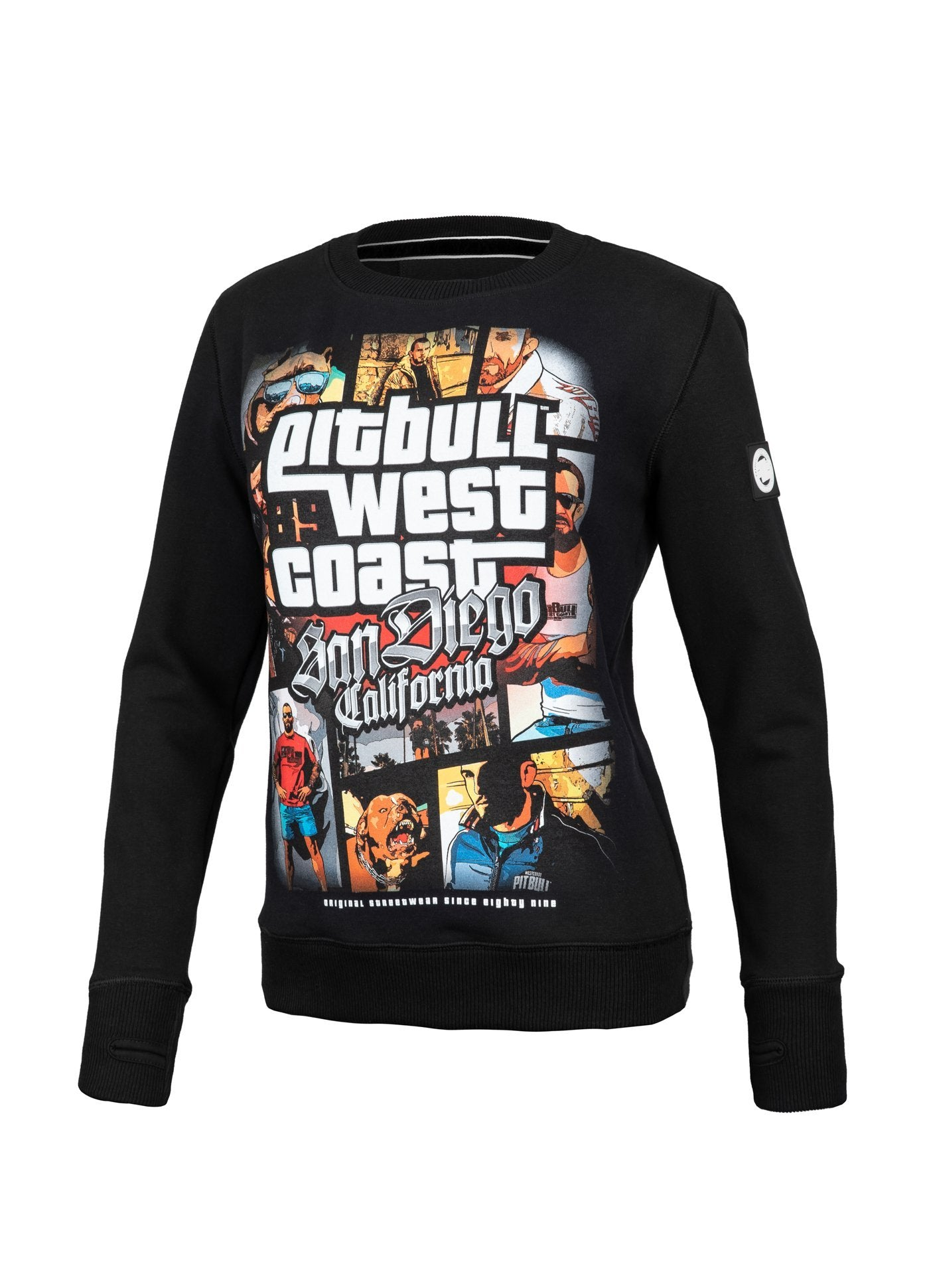 WOMEN CREWNECK Most Wanted BLACK - Pitbull West Coast U.S.A.