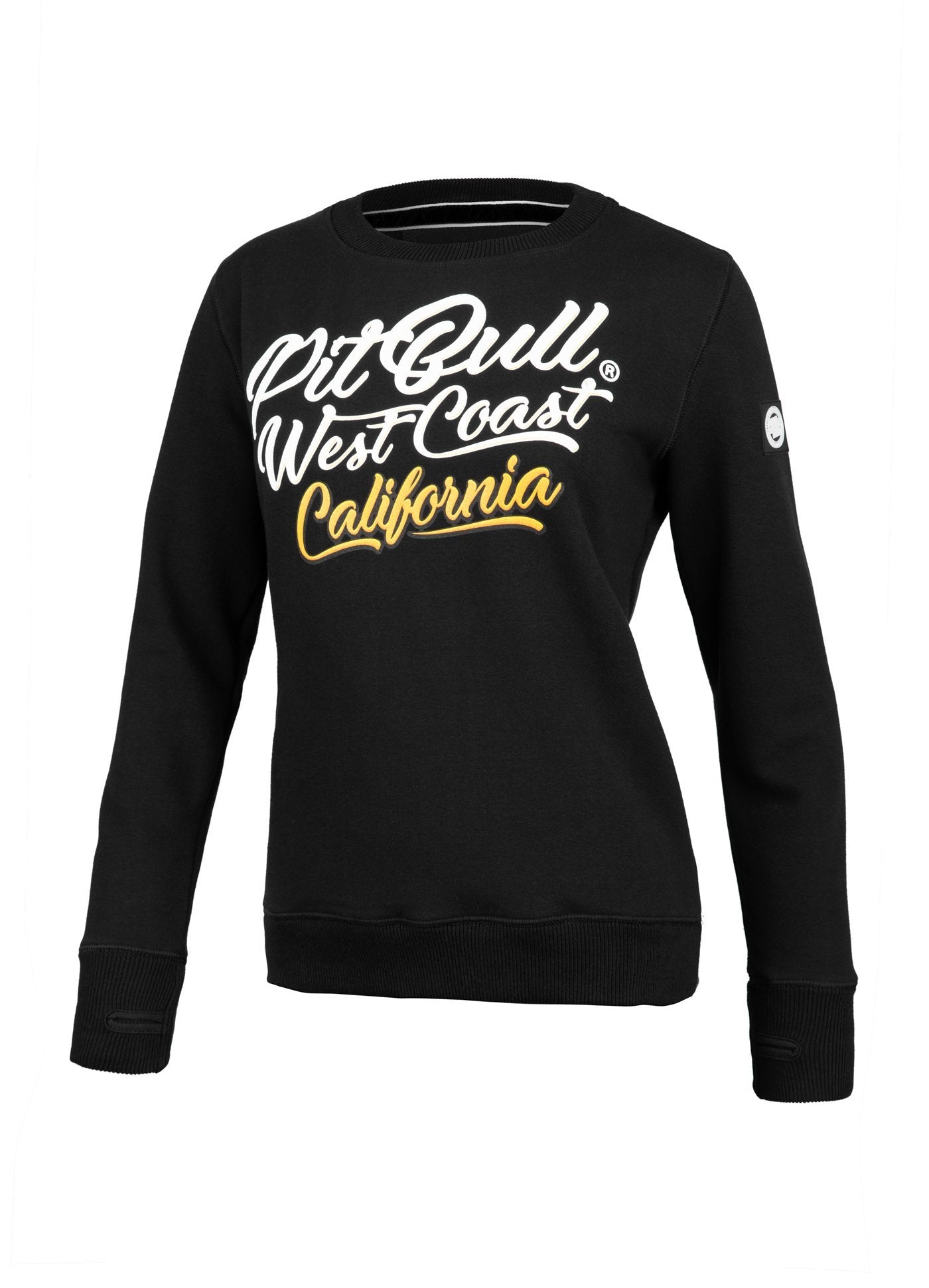 WOMEN CREWNECK Surf Dog BLACK - Pitbull West Coast U.S.A.