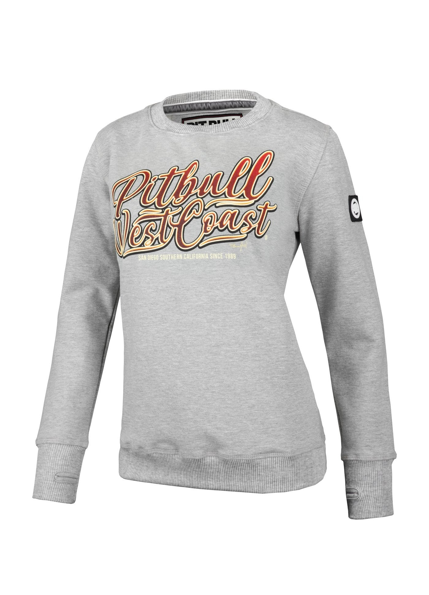 WOMEN CREWNECK City of Dogs GREY MLG - Pitbull West Coast U.S.A.