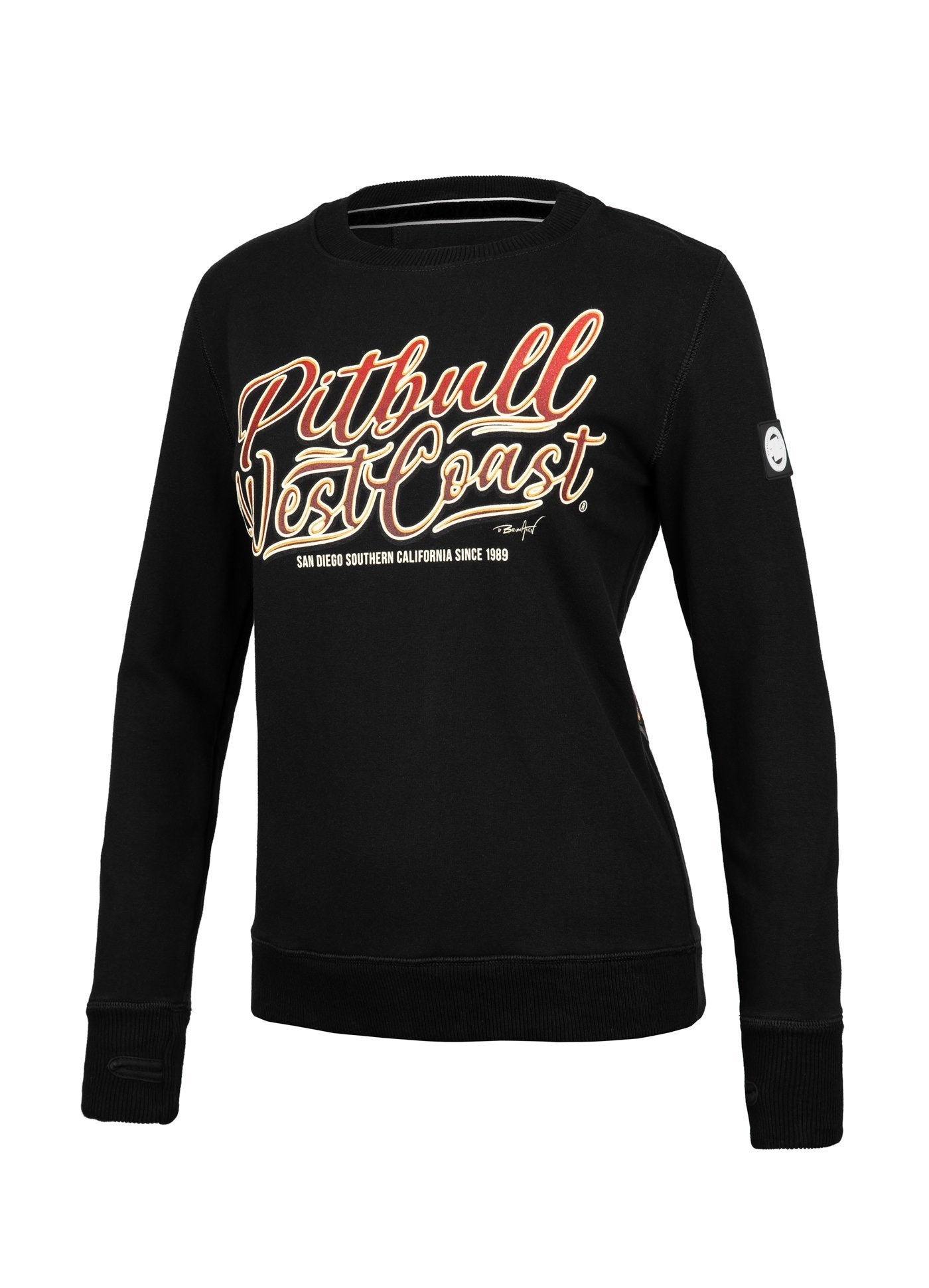 WOMEN CREWNECK City of Dogs BLACK - Pitbull West Coast U.S.A.