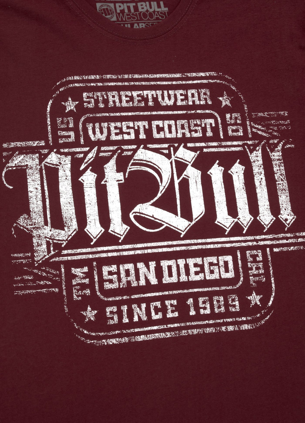T-shirt SAN DIEGO IV Burgundy - Pitbull West Coast U.S.A.