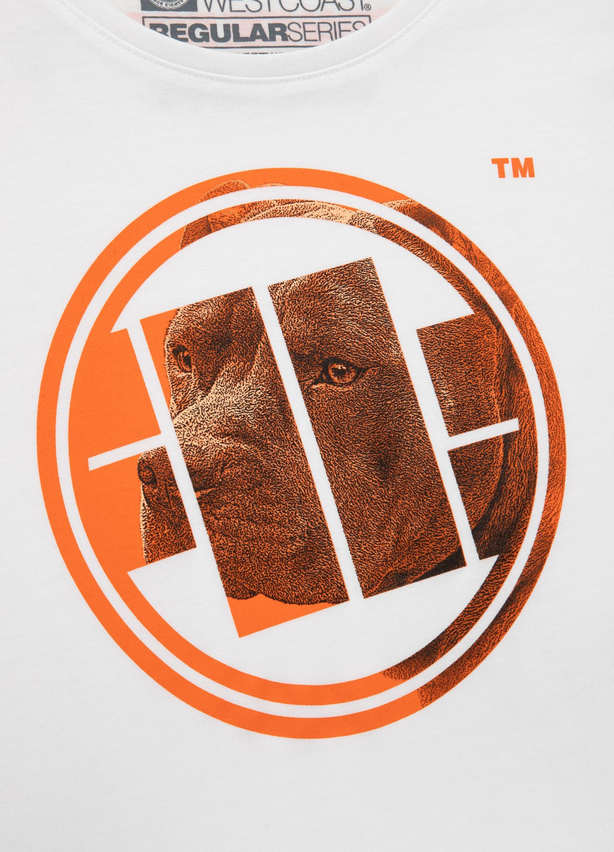 Women's T-shirt ORANGE DOG White - Pitbull West Coast U.S.A.