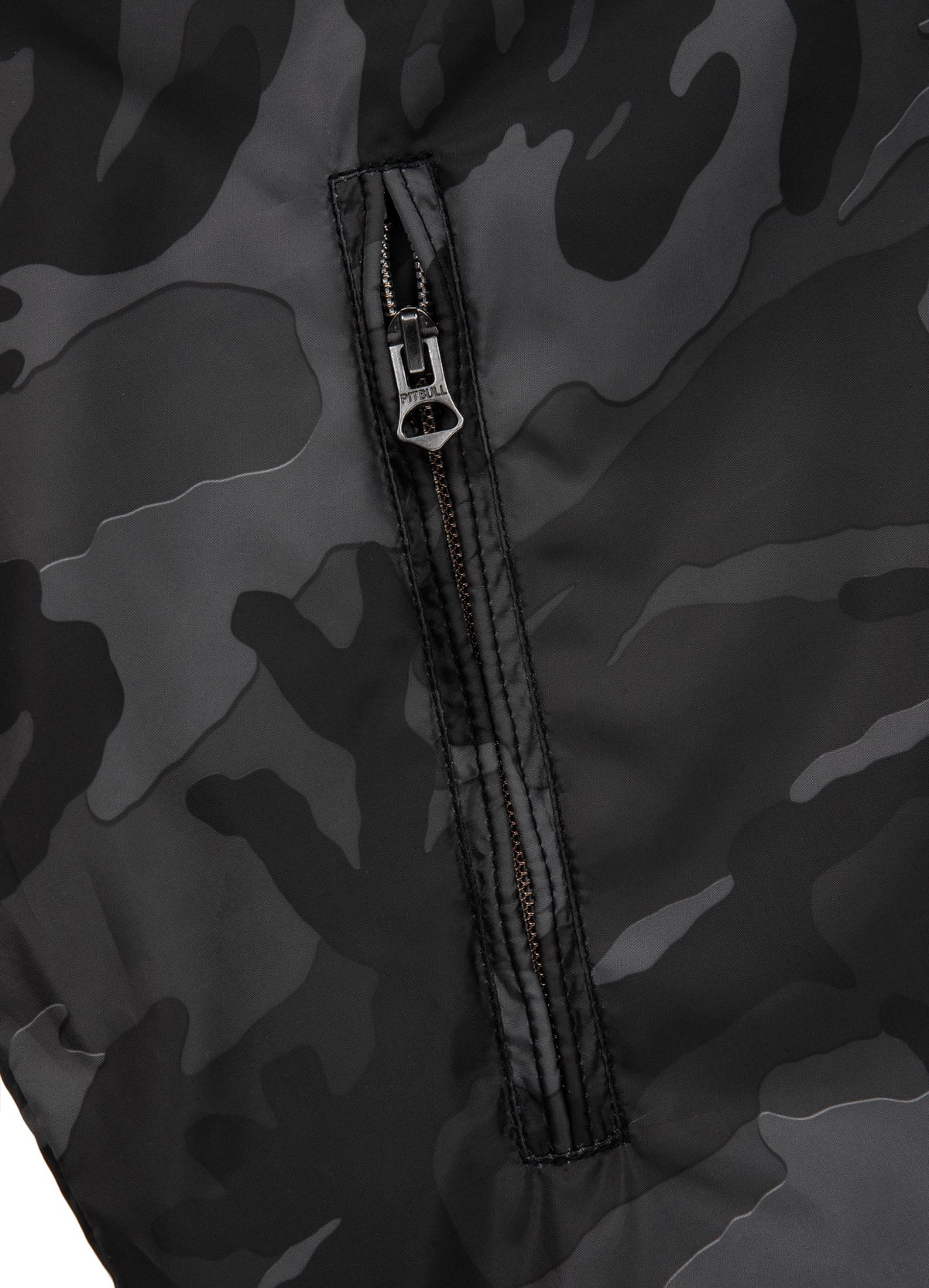 HANSEL Thin Hooded Nylon Jacket All Black Camo - Pitbull West Coast U.S.A.
