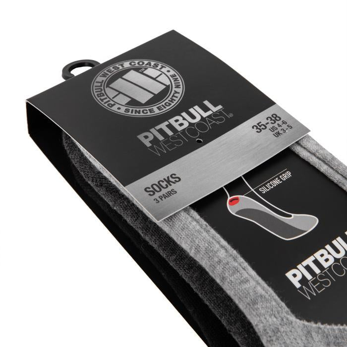 Thin No Show TNT Socks 3pack Grey/Charcoal/Black - Pitbull West Coast U.S.A.