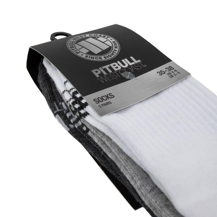 Thin Socks Low Ankle TNT 3pack White/Grey/Charcoal - Pitbull West Coast U.S.A.