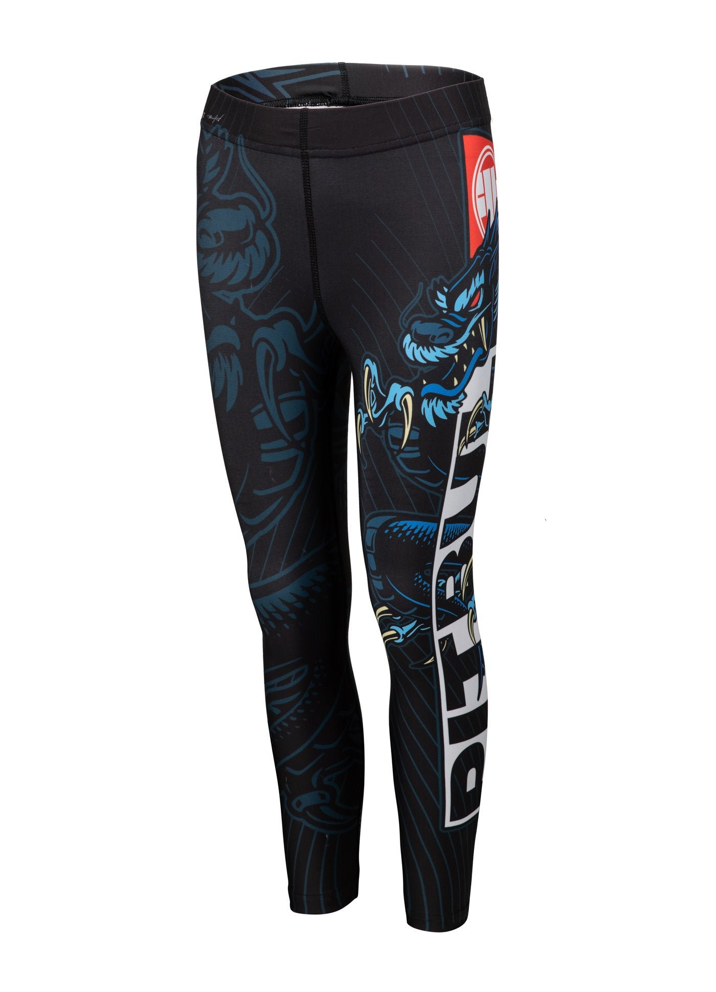 Kids Compression Pants BLUE DRAGON Black - Pitbull West Coast U.S.A.