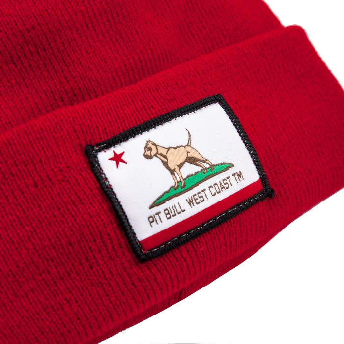 CALIFORNIA DOG Beanie Red - Pitbull West Coast U.S.A.