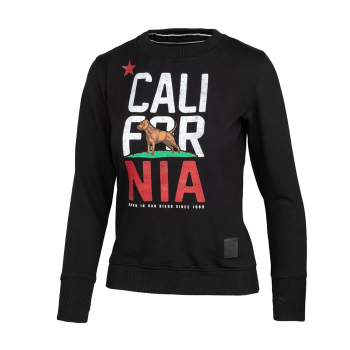 Women CAL FLAG Crewneck Black - Pitbull West Coast U.S.A.