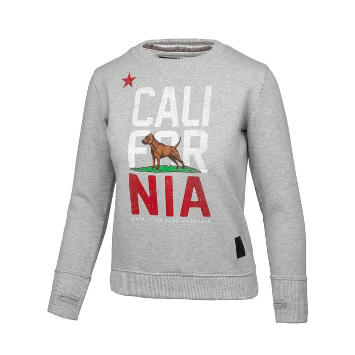 Women CAL FLAG Crewneck Grey - Pitbull West Coast U.S.A.