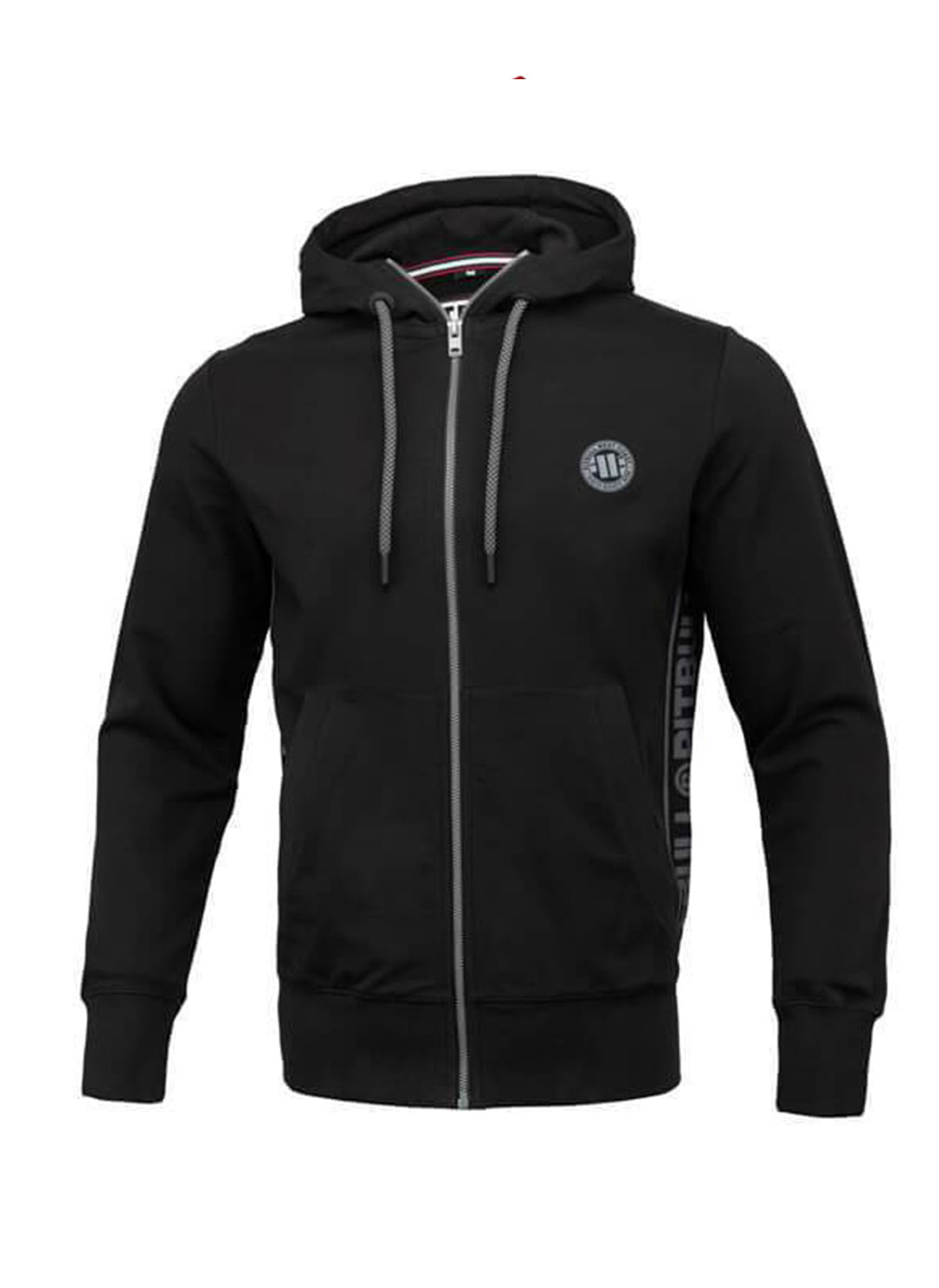 Zipped hooded 'Small Logo' FRENCH TERRY Black