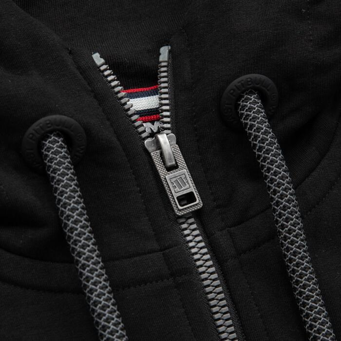Zipped hooded 'Small Logo' FRENCH TERRY Black - Pitbull West Coast U.S.A.